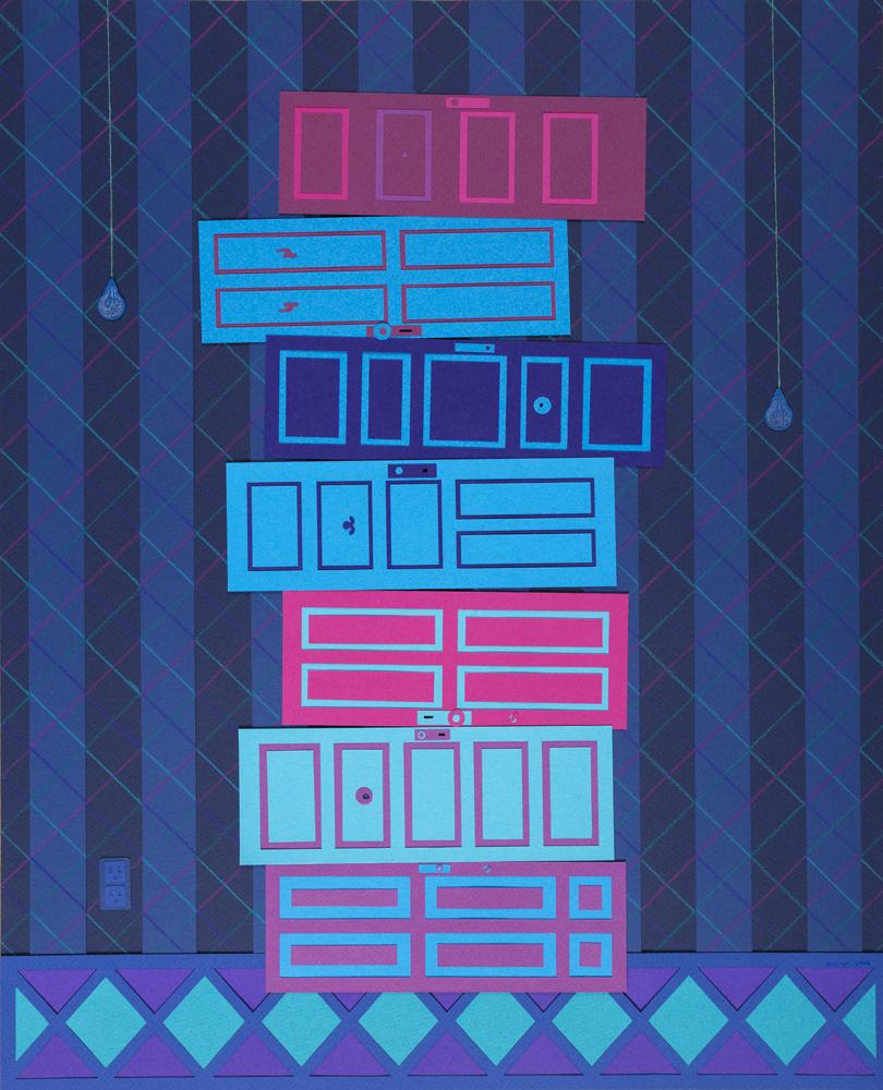 seven stacked doors
